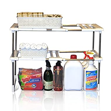 CitrusKichen 2 Tier Stackable and Expandable Under Sink Organizer Shelf for Kitchen and Bathroom