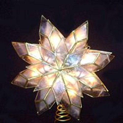 Kurt Adler 9-Inch Capiz Star Tree Topper with 10 Clear Lights and 1 Spare Bulb (Topper Simple Tree Angel)
