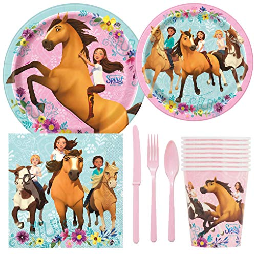 Spirit Riding Free Horse Birthday Party Supplies Pack Including Cake & Lunch Plates, Cutlery, Cups, Napkins (8 Guests)
