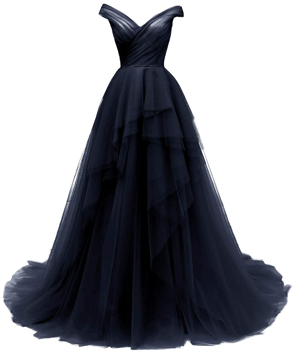 Navy bluee AnnaBride Women's Long V Neck Prom Ball Quinceanera Gowns with Train Formal Party Dress 14PM