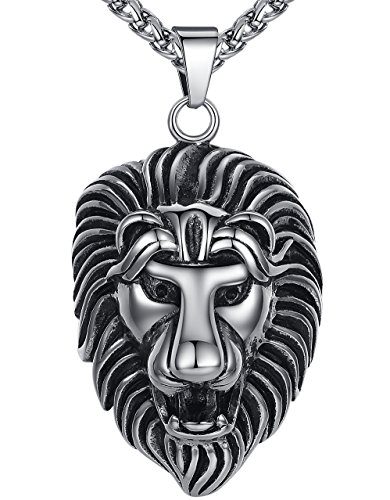 Mens Stainless Steel Large and Heavy Lion Biker Pendant Necklace, 24 Link Chain, aap105