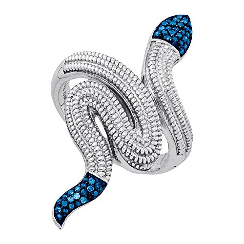 Sterling Silver Womens Round Blue Color Enhanced Diamond Serpent Snake Fashion Ring 1/6 Cttw 0.15 Total Carat Weight