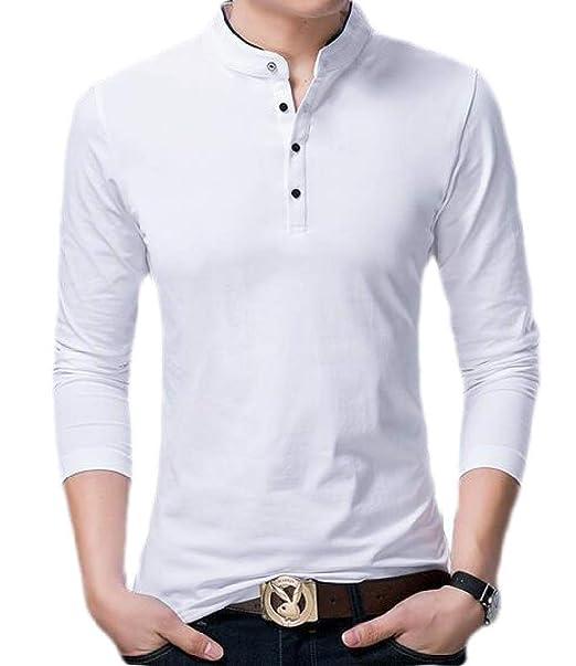 dahuo - Polo de Manga Larga con Cuello en V para Hombre Blanco ...