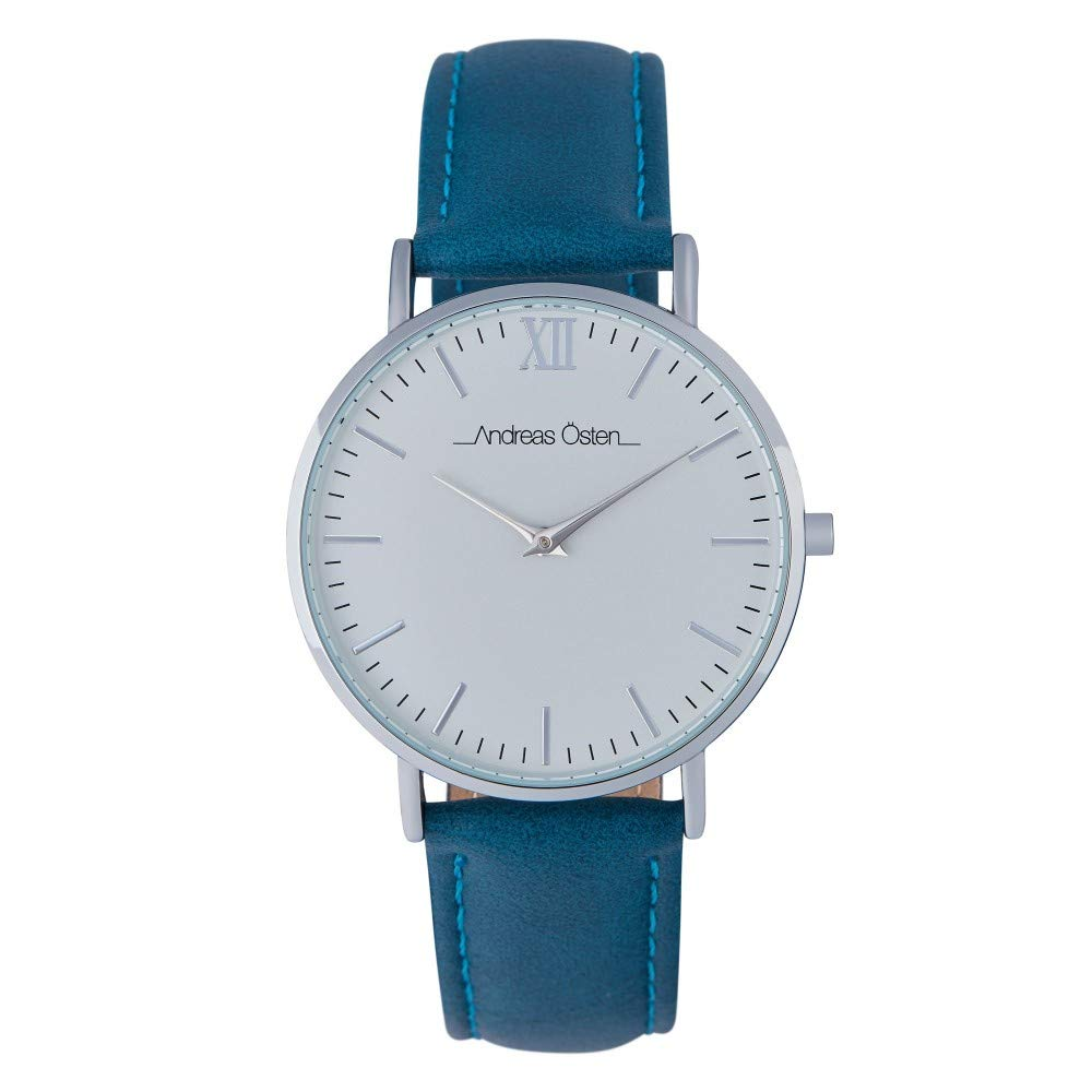 Andreas Osten Unisex Quartz Watch 36 mm White Dial and Blue Navy PU Bracelet AOW18023