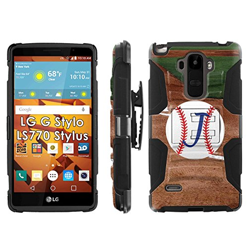 LG G Stylo LS770 H631 Phone Cover, Baseball Monogram J- Blitz Hybrid Armor Phone Case for [LG G Stylo LS770 H631] with [Kickstand and Holster] by Mobiflare