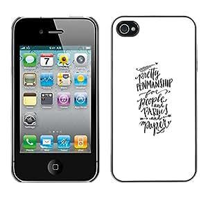 For Apple iPhone 4 / iPhone 4S / 4S Case , Calligraphy Hand Written Text - Diseño Patrón Teléfono Caso Cubierta Case Bumper Duro Protección Case Cover Funda