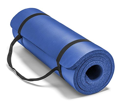 Spoga Premium Extra Thick 71-Inch Long High Density Exercise Yoga Mat with Comfort Foam and Carrying Straps, Blue