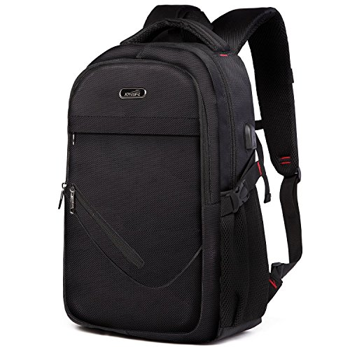 TOPNICE Laptop Backpack for Men,Small College Backpack with Laptop Pocket USB Charging Port,Water Resistant Bookbag Pack Fits Up to 15.6 Inch Laptop Black