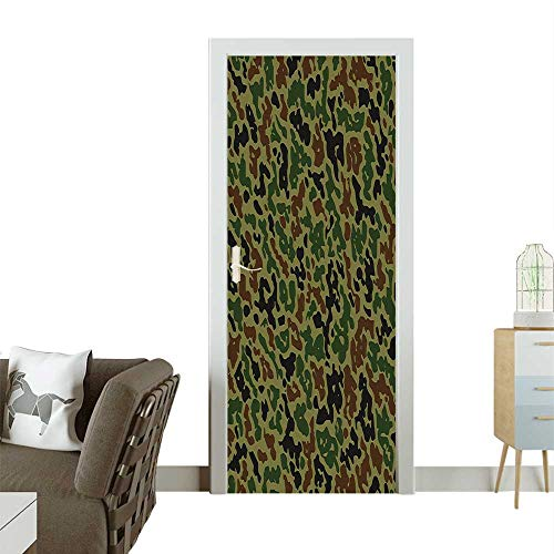 Decorative Door Decal Camouflage Pattern Grungy Texture Hidden Jungle Retro Style Khaki Stick The Picture on The doorW36 x H79 INCH ()