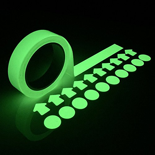 Glow in the Dark Tape - Luminous Stickers 30 Feet x 1 Inch Waterproof Masking, Gaffer and Emergency Use Tape   Glow-in-the-Dark Duck Tape has a Very Bright Photo-luminescent Glow free shipping