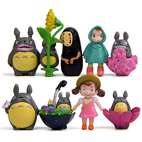 Resin Anime Figures - Kimkoala 9Pcs My Neighbor Totoro Figure Hayao Miyazaki Spirited Away Anime No Face Man Figurines Toy Resin Crafts Doll Models Home Gardening Decor Micro Landscape Decoration Ornaments
