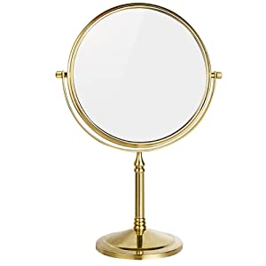 DOWRY Tabletop Swivel Makeup Vanity Mirror for Bathroom 7X Magnification 8-Inch,Gold Finish, Brass Steel Standing MirrorDowry2202J(7X)