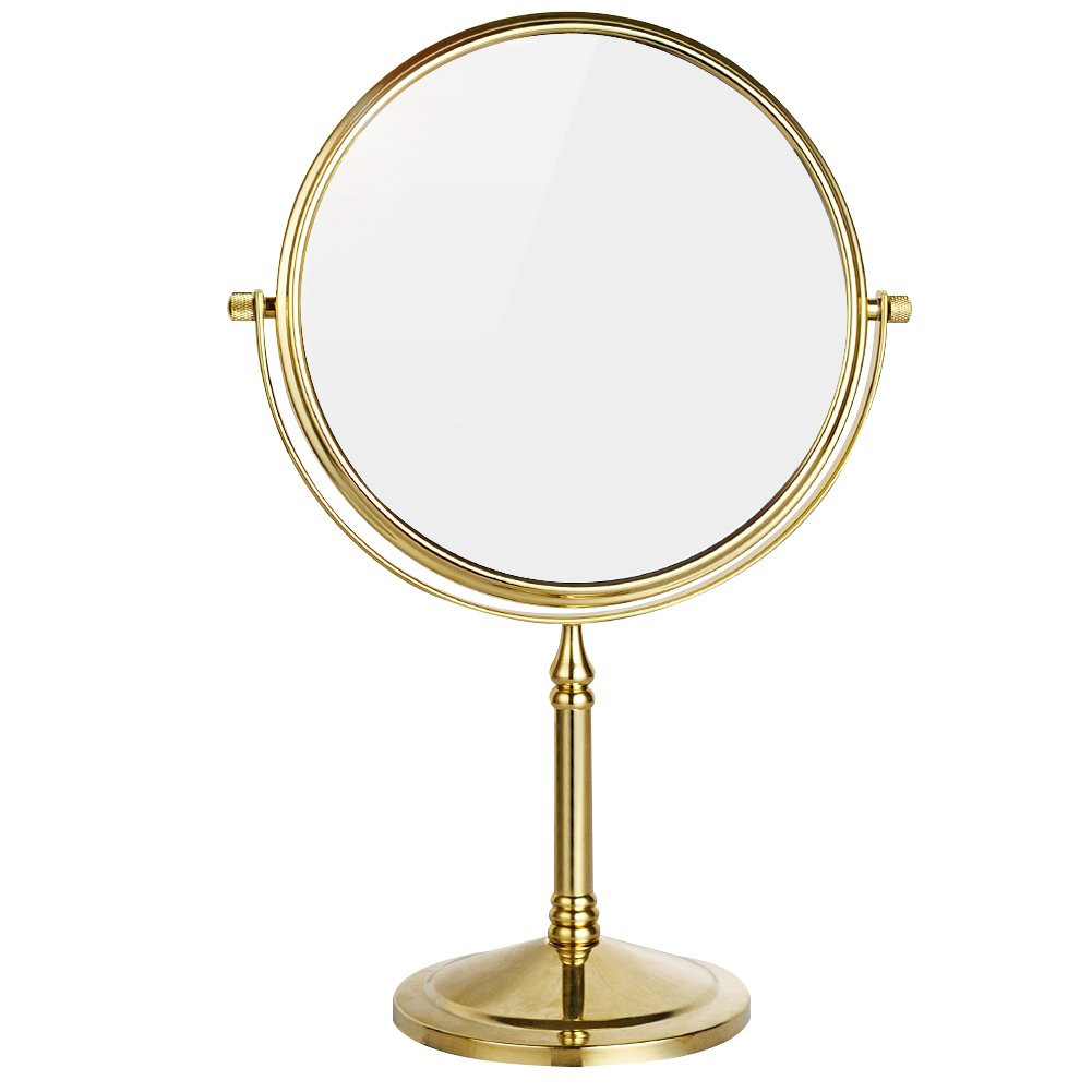 DOWRY 8-Inch Tabletop Swivel Vanity Mirror 3x Magnification,Gold Finish Dowry2202J (3x)