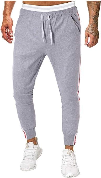 VPASS Pantalones para Hombre, Cintura Ajustable por Cordón y Bolsillos Pantalones Moda Pop Casuales Chándal de Hombres Jogging Pants Trend Comodo Largo Pantalones: Amazon.es: Ropa y accesorios