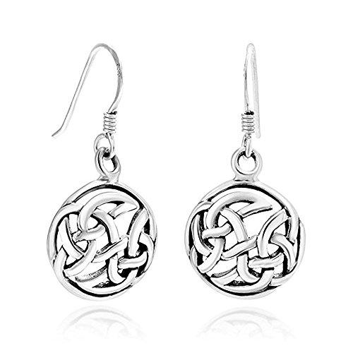 925 Sterling Silver Cut Open Celtic Infinity Knot Symbol Round Dangle Hook Earrings 1.2