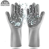 Magic Saksak Dishwashing Cleaning Sponge Gloves,1 Pair Reusable Silicone Brush Heat Resistant Scrubber Gloves for Dish Washing,Kitchen Bathroom,Car and Pet Cleaning-2 Pack (Large) (Grey)