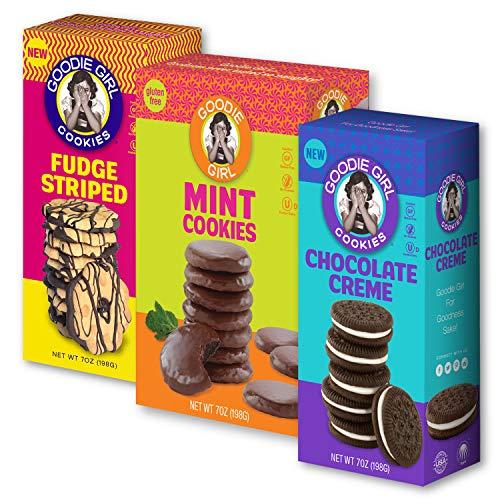 Goodie Girl Cookies, Gluten Free Cookies Mint Cookies, Chocolate Creme & Fudge Striped Variety Pack, Peanut Free Cookies