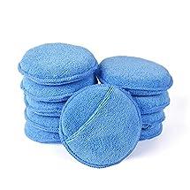 "Microfiber Wax Applicator, AutoCare Ultra-soft Microfiber Wax Applicator Pads with Pocket Wax Applicator for Cars Wax Applicator foam sponge (Blue, 5"" Diameter, Pack of 10)"