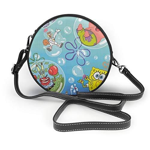 Women's Leatherwear Spongebob Squarepants Art Print Print Round Crossbody Shoulder Bag Top Handle Tote Handbag Bag - 7.1 X 7.1 X 2.36 Inch