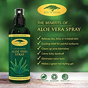 (16 oz) Aloe Vera Spray for Face - Pure Aloe Vera Plant Juice, Perfect topical Moisturizer for Face and Hair, Provides Relief for Sunburn, Eczema, Dry Damaged Skin, Razor Bumps, Acne and Aging Skin