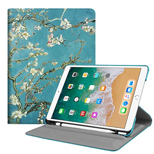 Fintie Case with Built-in Pencil Holder for iPad Air 10.5 (3rd Gen) 2019 / iPad Pro 10.5 2017- Multiple Angles Stand Protective Cover with Auto Sleep/Wake Feature, Blossom