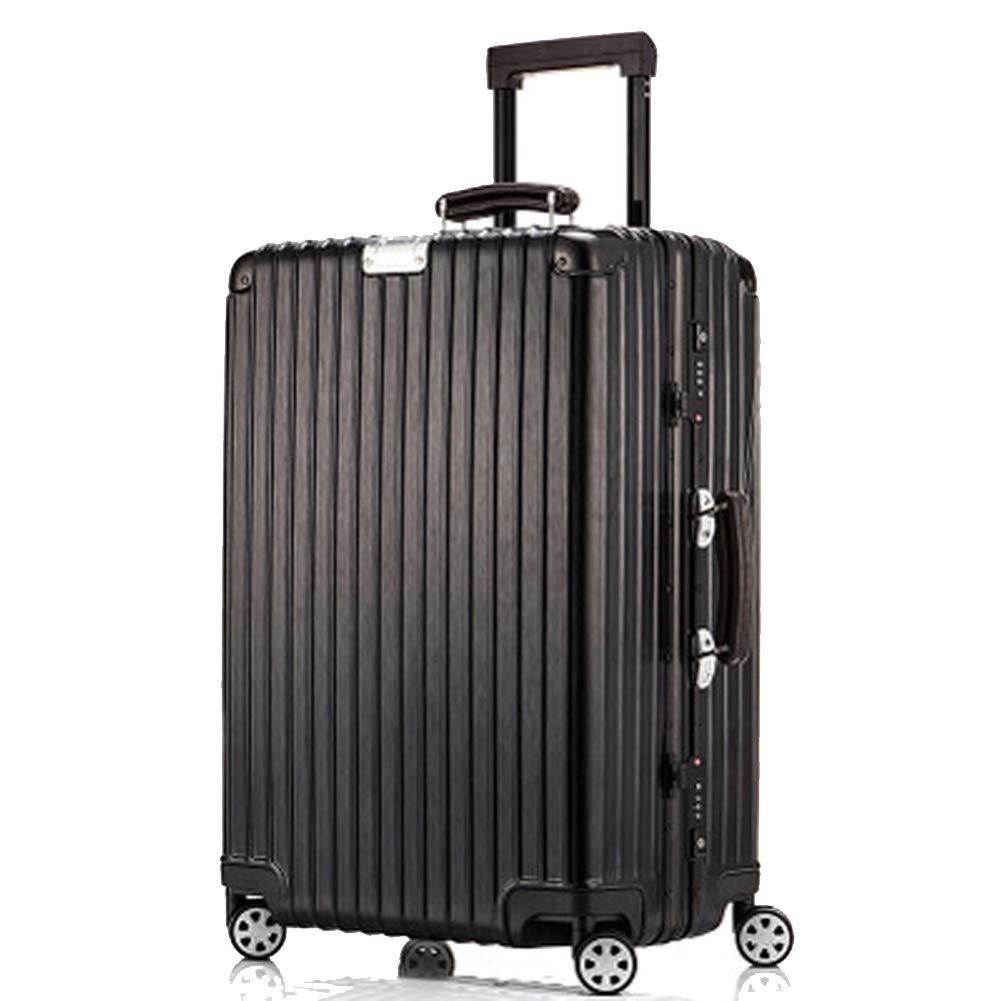 レトロトロリーケース、アルミフレーム搭乗トロリースーツケース、受託手荷物バッグ、-black-L B07RKPVZL8 black Large
