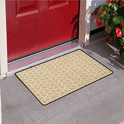 Gloria Johnson Easter Commercial Grade Entrance mat Vintage Style Hand Drawn Pattern with Chicken Rabbit and Basket Full of Painted Eggs for entrances garages patios W19.7 x L31.5 Inch Multicolor