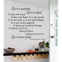 """Love Is Patient Love Is Kind Christian Bible Verse Vinyl Decal Wall Sticker Words Letters - White Matte, 24"""" wide by 22"""" tall"""