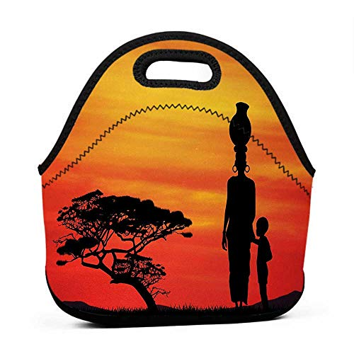 Removable Shoulder Strap African Woman,Rural Countryside Landscape Mother and Child at Sunset Acacia Tree,Yellow Scarlet Black,laptop and lunch bag for women