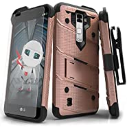 LG K10 Case, Zizo [Bolt Series] with FREE [LG K10 Screen Protector Clear] Kickstand [Military Grade Drop Tested] Holster Belt Clip - LG K10