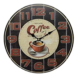 Retro style coffee shop themed wall clock, shabby chic, 13 inch round wall clock