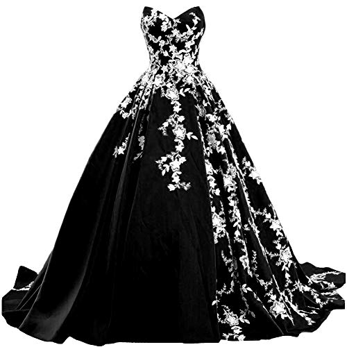 Kivary White Lace Long Ball Gown Satin V Neck Formal Prom Evening Dresses Gothic 16 Plus Black