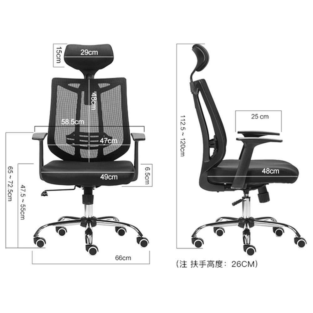 XKKD stol kontorsstol andningsbar mesh svamp kudde lyft nackstöd vikt 250 kg (färg: svart) grå