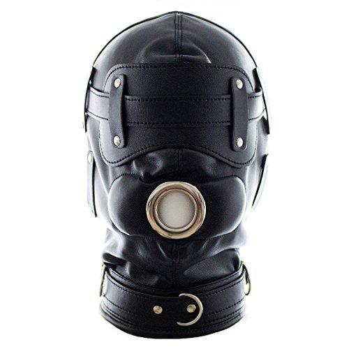 Zipper Mouth Halloween (MAMOHSS Unisex Leather Punk Gothic Full Face Mask Hood Zipper Eyes Mouth Lace Up Back Halloween Costume)