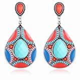 Spring Summer Coral Blue Drop Earrings (Gift Ready: paper box and paper confetti included)