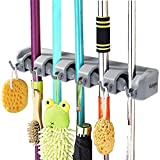 Vicloon Broom Mop Holder Tidy Organizer, Wall Mounted Organizer with 5 Position 6 Hooks for Brush Mop and Broom Tool Storage