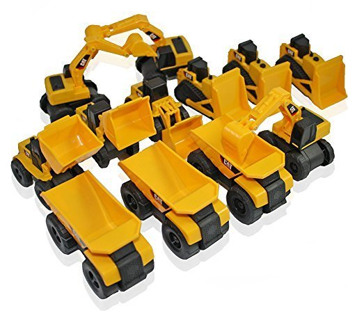 Original - 1 Pack - Toy State CAT Caterpillar Construction Toys Mini Machine set of 12 Assorted - Dump Truck, Bulldozer, Wheel Loader and Excavator- individually Packaged Free-Wheeling Vehicles Great As Cake Toppers