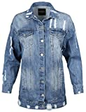 Made by Emma Over-sized Distressed Long Sleeve Denim Jacket Blue M