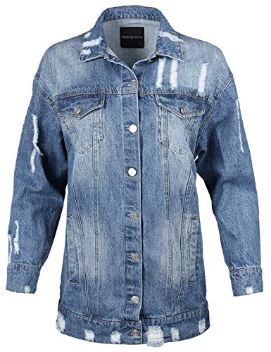 Made by Emma Over-sized Distressed Long Sleeve Denim Jacket Blue - Over Sized