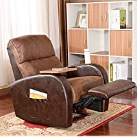 Soges Luxurious Manual Recliner Chair Lounge Sofa Home Theater Chair Living Room Chair , Brown 535-BR-X