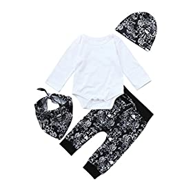 - 51rHlAVWGsL - Toddler Baby Boys Girls Clothes 4Pcs Sets for 0-24 Months,Lovely Halloween Spider Web Tops Pants Bibs Hats Outfits Sets