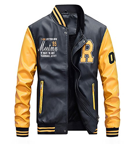 2019 Yellow Fleece - Lavnis Men's Faux Leather Jacket Casual Baseball Stand Collar Slim Fit Coat Yellow 2XL
