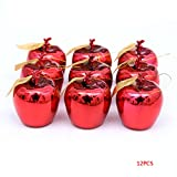 Meidus 12Pcs Red Golden Apples Christmas Tree Decorations Party Events Fruit Pendant Christmas Hanging Ornament