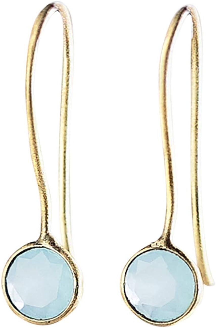Pendientes Oro 18k Aqua Calcedonia - Piedras Preciosas Azul Turquesa Celeste Aguamarina para Mujer - Joyería Elegante Minimalista - Pendientes Pequeños Redondos Dorados