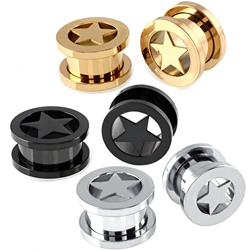 Tunnels Piercing 316L Stainless Steel Expander for Ear Body Piercing Pack of 6 (3 Pairs of Gauge=0g(8mm)) (Star Tunnel)