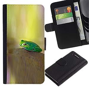 JackGot ( kamen lyagushka Zelenaya fon ) Sony Xperia Z3 Compact / Z3 Mini (Not Z3) la tarjeta de Crédito Slots PU Funda de cuero Monedero caso cubierta de piel
