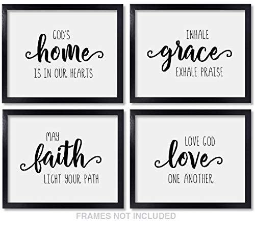 Verses Bible Teachers (Farmhouse Quotes Christian Wall Art Home Decor - 8x10 Unframed Set of 4 Prints - Rustic Faith Grace Praise Love Bible Verse Decorations for Bedroom Bathroom)