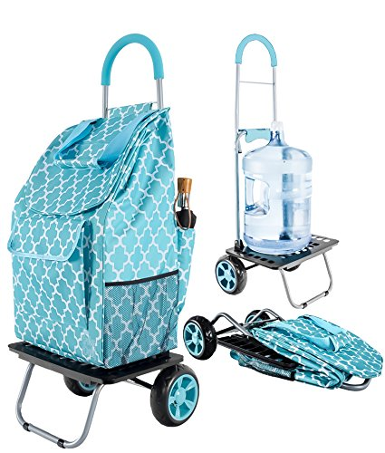 dbest products Bigger Trolley Dolly, Moroccan Tile Shopping Grocery Foldable (Nursing Supply Cart)