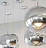"Tom Dixon 15.7"" Glass Globe Chrome Mirror Ball Pendant Ceiling Light"