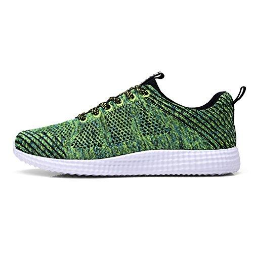 Tiosebon Heren Lichtgewicht Atletische Walking Casual Sneakers Lace-up Sportschoenen 8258 Groen